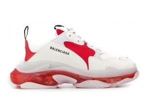 """Clear Sole """"Gray/White/Red"""""""